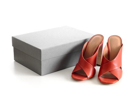 Open toe criss cross leather mule shoes with the cardboard shoebox isolated on white background. Fashion heels shoes, terracotta color. Standard-Bild - 97503685