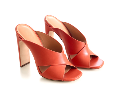 Open toe criss cross leather mule shoes isolated on white background. Fashion heels shoes, terracotta color. Standard-Bild - 97422103