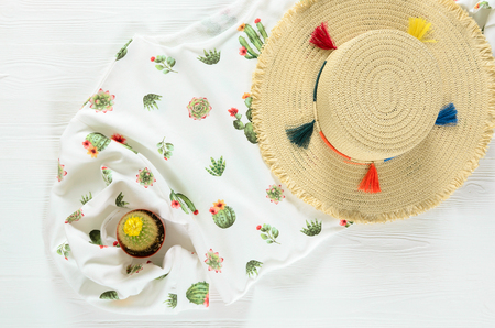 Set of womens clothing, accessories ( white cactus graphic pullover, straw hat) and live cactus on wooden background. Fashion outfit. Shopping concept. Flat lay. Spring summer collection Standard-Bild - 98425850