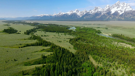 Beautiful landscape near the Yellowstone National park in Wyoming USA from above. Aerial view drone shot