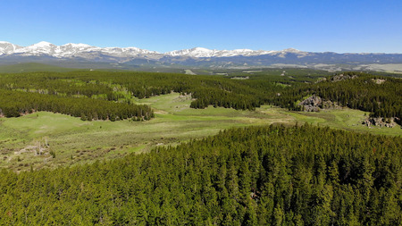 Beautiful landscape near the Yellowstone National park in Wyoming USA from above. Aerial view drone shot Standard-Bild - 105278843