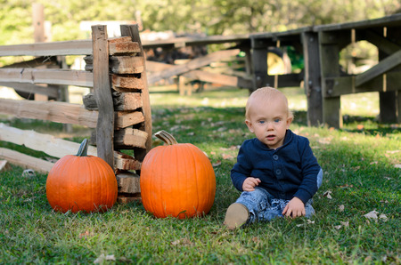 Baby with two ripe pumpkins. Picking pumpkins in pumpkin patch. Halloween, Thanksgiving holidays season