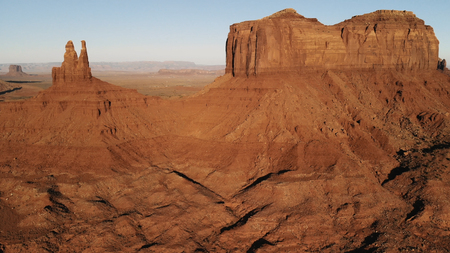 Scenic landscape near the Oljato–Monument Valley. Aerial view, from above, drone shooting. Arizona - Utah border Standard-Bild