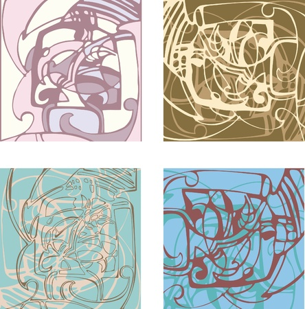 Abstract background on the basis of stylized forms. Composition options. Variations of color solutions Illustration