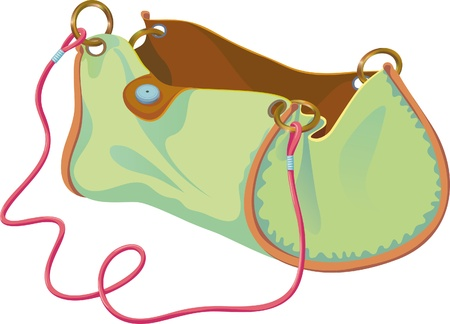 empty handbag on the strap in expanded form Vector