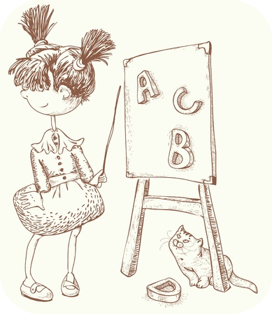 little girl playing teacher. execution-style free-hatching. Vector