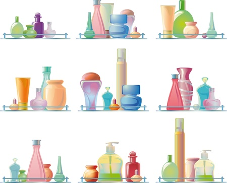 body care products on a glass shelf. different models