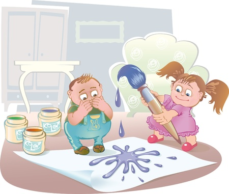 naughty child: kids alone at home playing with paint and brush Illustration