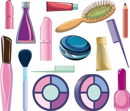 cosmetic items, manicure and makeup. Illustration