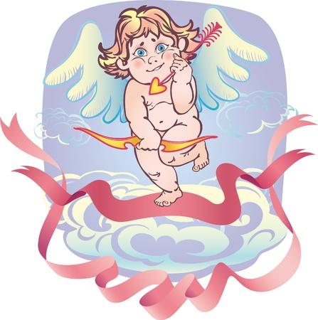 dressy: Cupido desnudo con una flecha en la nube y la cinta