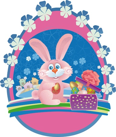 pink rabbit picks out of the box easter egg Stock Vector - 9534104