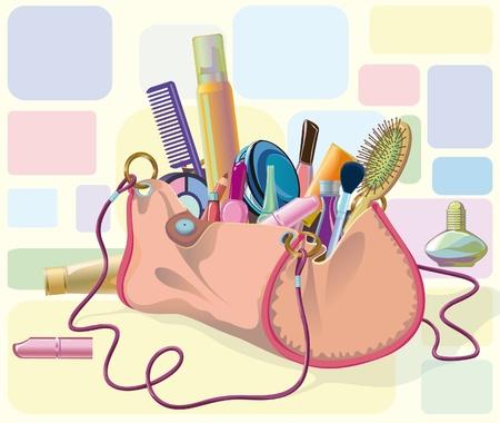 bolso lleno de objetos de su atención y cosméticos. Objetos no cortar a bolsas de formulario, puede utilizarse por separado Ilustración de vector