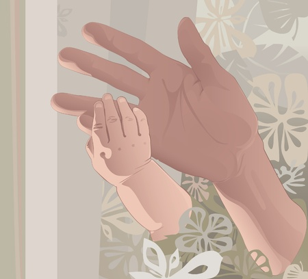 Hand the kid keeps his hand my mothers finger. floral abstract background Vector