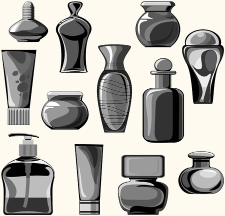 bodycare: flasks, jars, containers, tubes of body care products. black-and-white gamma
