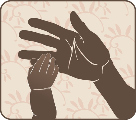 Hand the kid keeps his hand my mother's finger. silhouette solution. sign Stock Vector - 9533963