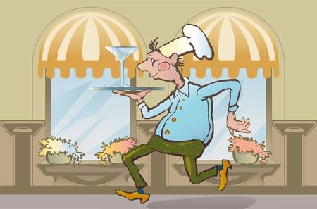 dexterous: dexterous waiter restaurant is martini glass