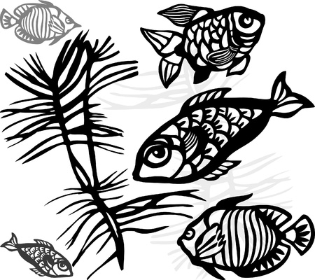 The stylized silhouettes of sea fishes and seaweed Vector