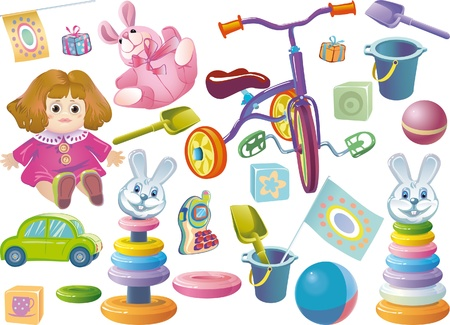 Set of childrens toys for younger age.