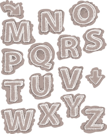drawing the alphabet. letters are not background. strokes beyond the letters are grouped together in separate groups and can be removed. Vector