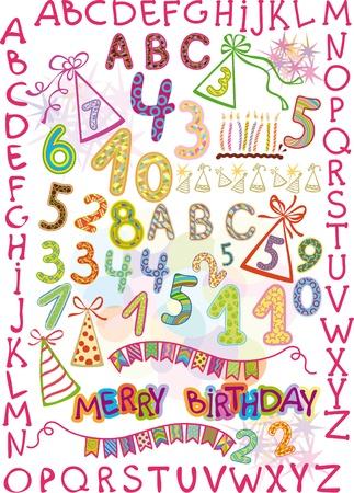 dressy: alfabeto y n�meros en un divertido estilo infantil. elementos de vacaciones para ni�os Vectores