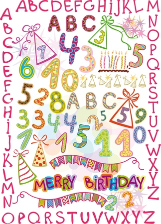 dressy: alphabet and numbers in a fun childrens style. elements for a childrens holiday Illustration
