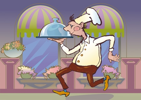 brings: The waiter brings a tray of order. restaurant interior