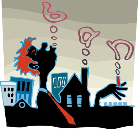 smoking ban: silhouette smoker at urban background. Smoke the sky. Formed the word  Illustration