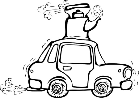 puff: vibrating car with boiling kettle on the roof. allegory on poorly trained person