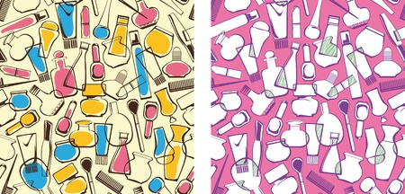 seamless pattern of care products and cosmetics. Women Vector