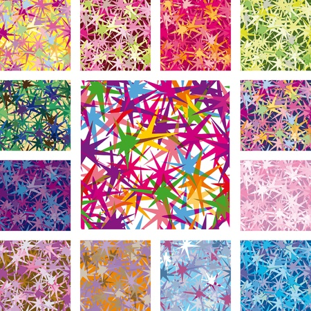 a set of seamless patterns. Star of irregular shape with the effect of transparency Vector