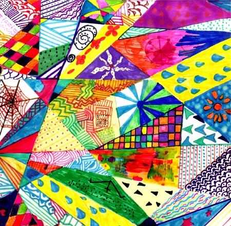 иллюстрировать: плоскости, наполненной различными текстурами. Наивные.