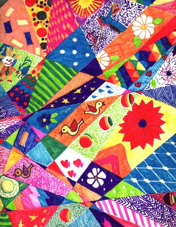 patchwork: colorful, abstract, children Stock Photo