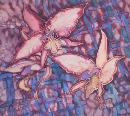 batik: Orchidée. Batik sur soie. Banque d'images