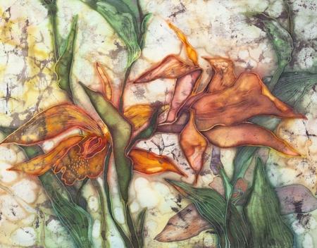 batik pattern: Orchid. Batik on silk.