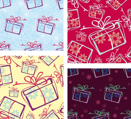 a set of seamless patterns. Christmas gifts. options Stock Vector - 10045333