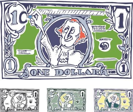 one dollar bill: comic American dollar. The increase in value. Variations in color images. Under each image has a white background. When you remove the white parts of the image will be transparent.
