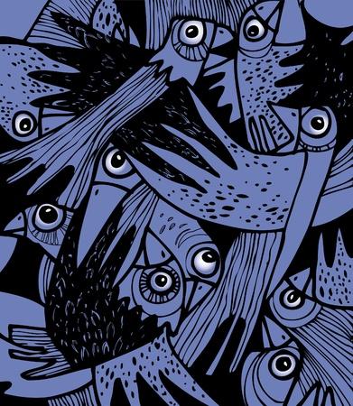 beaks: Disegno decorativo. Uno stormo di corvi spaventati. Vettoriali