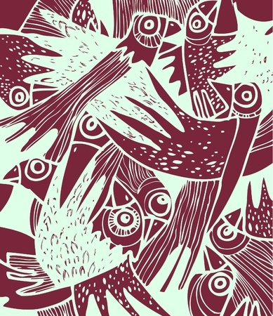 flapping: Decorative design. A flock of frightened crows.