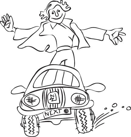 singly: A young man riding in a car while standing. Contour drawing.