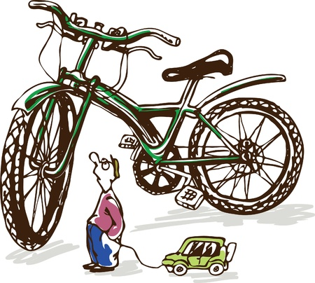 Comic illustration on the benefits of the bicycle over the car. Solution of environmental problems Illustration