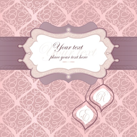 wedding card design: frame for an invitation to the background seamless pattern.