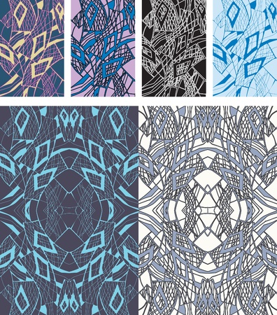 pastiche: Options rectangular seamless pattern. Composition in different tones solutions.