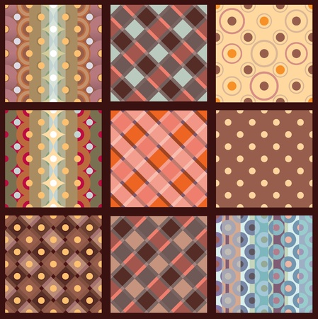 checkered wallpaper: Options seamless patterns for the fabric. Drawing on the basis of points and cells. Illustration