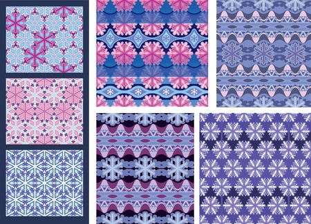 A set of seamless background and textile patterns. Winter decoration. Stock Vector - 10668255