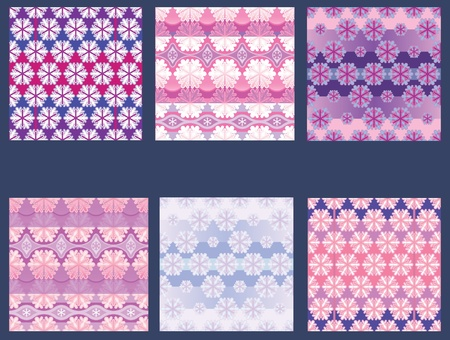 schema: A set of seamless background and textile patterns. Winter Christmas decorations.