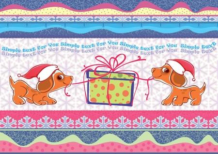animal leg: ilustraci�n de dos cachorros. Liberar un regalo de Navidad. A�o Nuevo