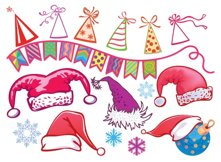 Options for Christmas hats. Holiday items Stock Vector - 10698535