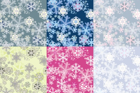 Color options seamless patterns from snowflakes. Stock Vector - 10730286