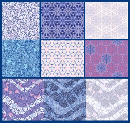pastiche: Color options seamless patterns from snowflakes. stylization Illustration