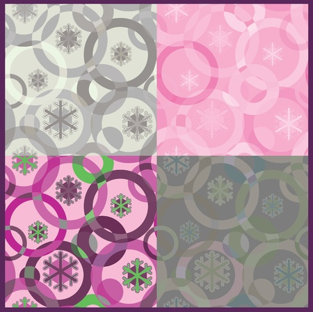 to pulsate: seamless inlay of the circles and snowflakes.